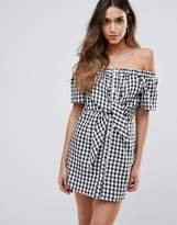 Missguided Gingham Bardot Tie Front Dress