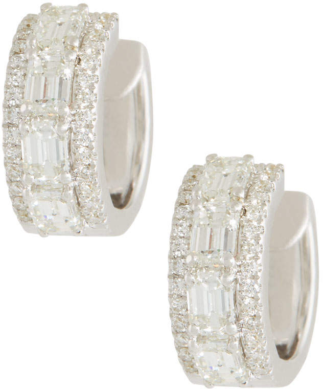 Roberto Coin 18k White Gold Emerald-Cut Diamond Hoop Earrings