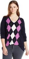 Caribbean Joe Women's Plus-Size Plus Argyle Pullover V-Neck Sweater