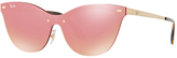 Ray-Ban RB3580N Cat's Eye Sunglasses, Gold/Pink Mirror