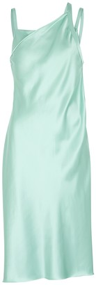 Helmut Lang Mint asymmetric satin midi dress