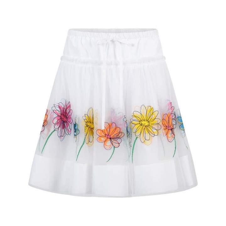 Simonetta SimonettaWhite Embroidered Tulle Flower Skirt