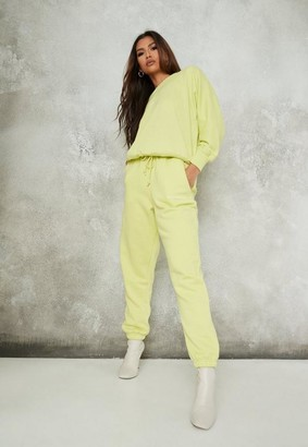 Missguided Lime Brushed Back Oversized 90S Joggers