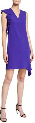 Akris Punto Solid Crepe Asymmetrical Cascading Ruffle Dress