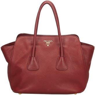Prada Red Leather Vitello Daino Satchel
