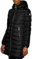 Moncler Orophin Leather Shoulder-Inset Down Coat