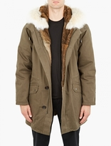 Yves Salomon Dark Green Rabbit-Fur-Lined Parka