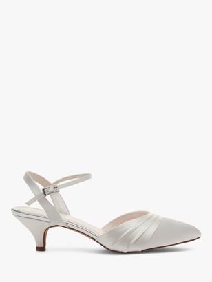 Rainbow Club Julie Kitten Heel Court Shoes, Ivory Satin