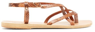 Ancient Greek Sandals Semele Buckled Python-effect Leather Sandals - Brown Multi