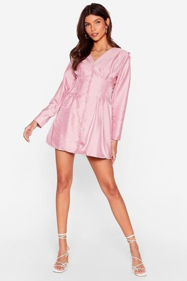 Nasty Gal Womens Shimmer Over Here Mini Shirt Dress - Pink - 6, Pink