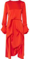 Sies Marjan - Exclusive Noemi Draped Silk-satin Midi Dress - Crimson
