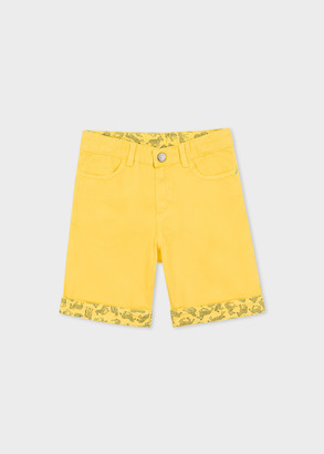 Paul Smith 8-10 Years Yellow Shorts With Zebra Trim