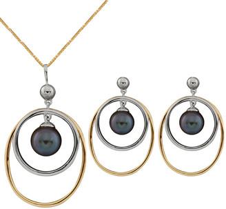 Splendid Pearls 10K Two-Tone 7-7.5Mm Pearl Necklace & Earrings Set