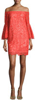 Trina Turk Lace Off-the-Shoulder Bell-Sleeve Shift Dress