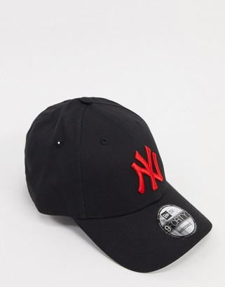 New Era NY 9Forty cap in black with red logo