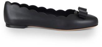 Salvatore Ferragamo Varina Scallop Leather Ballet Flats