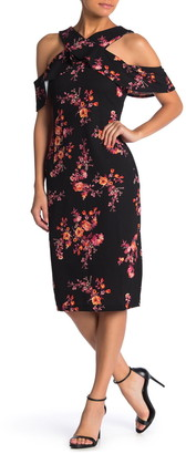 Rachel Roy Cold Shoulder Ruffle Floral Sheath Dress