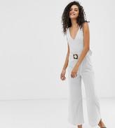 Asos DESIGN Tall stripe v neck jumpsuit with belt