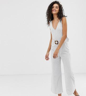 Asos Tall DESIGN Tall stripe v neck jumpsuit with belt-Multi