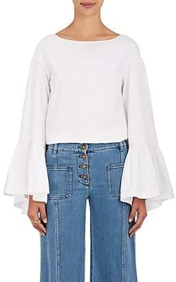 Teija Women's Cotton Bell-Sleeve Blouse - White