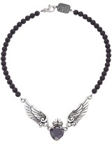 King Baby Studio Black CZ Heart w/ Wings on 6mm Onyx Necklace 16 Necklace