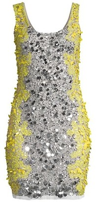 Aidan Mattox Colorblocked Sequin Sheath Dress
