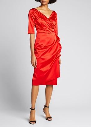Chiara Boni V-Neck Elbow-Sleeve Ruched Satin Dress