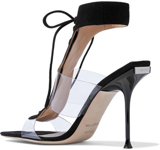 Sergio Rossi Sr Milano 105 Lace-up Suede And Pvc Sandals