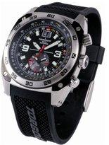 Torgoen Swiss T07301 Men's 43mm Aviation Watch with 12Hr Dual Time Zone, E6B Flight Computer and Black/Grey PU Strap