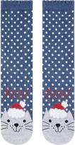 Accessorize Christmas Hat Cat Face Socks