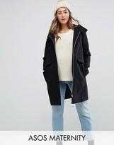 Asos Hooded Slim Coat With Zip Front