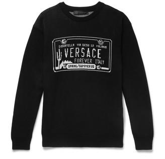 Versace Slim-Fit Logo-Intarsia Cotton Sweater