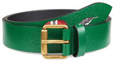Gucci Snake-Print Leather Belt, Green