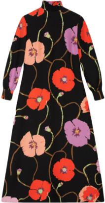 Gucci Ken Scott Floral-Print Mid-Length Dress
