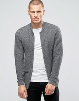 Jack and Jones Ribbed Zip Through Knitted Cardigan