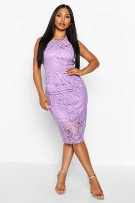 boohoo All Over Crochet Lace Midi Dress