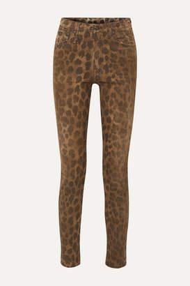 R 13 Distressed Leopard-print High-rise Skinny Jeans - Leopard print