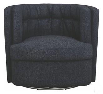 Latitude Run Suleman Diamond Shape Button Tufted Swivel Barrel Chair Fabric: Dark Blue