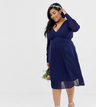 TFNC Plus Plus long sleeve midi bridesmaid dress with pleated skirt in navy
