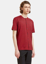 Lanvin Men's Striped Button-up T-shirt In Red