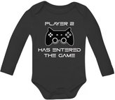 TeeStars Player 2 Has Entered The Game - Gift for Second Child Baby Long Sleeve Onesie