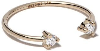 Mizuki 14kt Yellow Gold Two Diamonds Open Ring