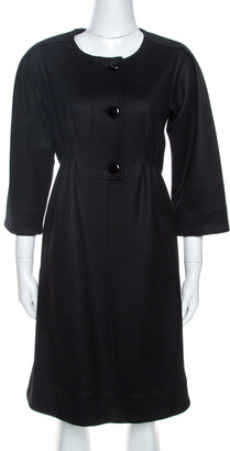 Diane von Furstenberg Black Wool Dress Coat M