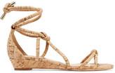 Schutz Margarete Knotted Cork-Effect Leather Wedge Sandals