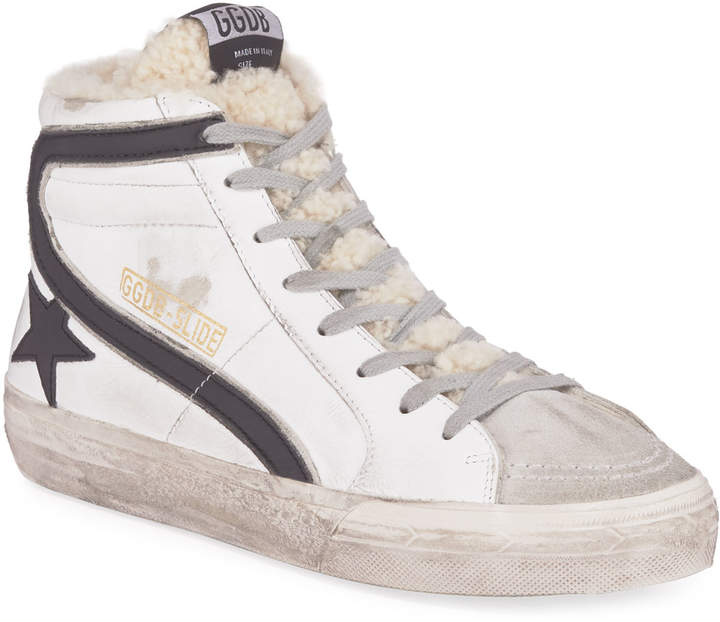 9784b87eb6f Slide Shearling-Lined High-Top Sneakers