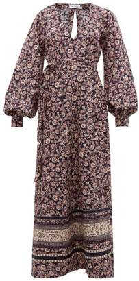 The Upside Kate Paisley And Floral Linen-blend Wrap Dress - Womens - Blue Multi