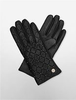 Calvin Klein Womens Quilted Leather Studded Gloves