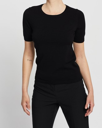 Forcast Women's Black Workwear Tops - Bridget Short Sleeve Knit - Size XS at The Iconic