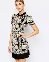 Oasis Floral Placement Border Shift Dress