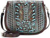 Patricia Nash Turquoise Tooled Savini Small Saddle Bag